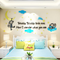 Wholesale Decal Monkeys - Monkey Wall Decals DIY Mirror Combination Stickers For Walls Acrylic Material Home Childern Bedroom Stickers For Walls-Mult Size