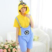 Wholesale Hot Minion Costume - Hot! Minion 2017 New Summer Pajamas Unisex Romper Pajamas Adult Cosplay Costumes Sleepwear Adult Onesies Womens Short Sleeve Pajamas P040403