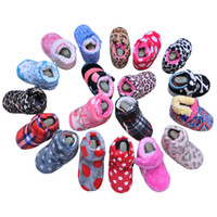Wholesale 18 snow - Baby Boots Infant Boots Coral Velvet Camouflage Dots Genuine Leather Soft Sole Anti-slip Baby Prewalkers Winter Cotton-padded shoes