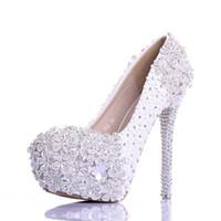 vestidos de graduación multicolor al por mayor-Bling bling blanco cristal plata zapatos de baile de flores zapatos de vestir del banquete de boda zapatos de tacones altos para niñas