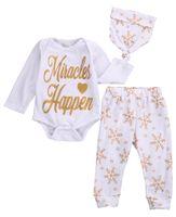 Wholesale Snow Hats - Baby Clothes Baby Snow Romper Sets autumn spring baby long sleeve romper+pants+hats 3pcs Sets Cotton Infant Clothes