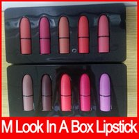 Wholesale Sexy Box - M brand Frost Sexy lipstick M Makeup look in a box be sfnsational mini size Lipsticks *5 Frost Matte Lipstick