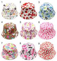 sombreros de cubo para niños al por mayor-Nuevo 36 colores para niños Flor Bucket Hat Temperamento Ocio Sunny Child Sun Hat para niños de 2-6 años