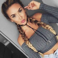 Wholesale crops for sale - Women's Tops & Tees 2018 off shoulder crop top t shirts hot sale long sleeve solid short t-shirts for women clothing fashion slim t-shirt