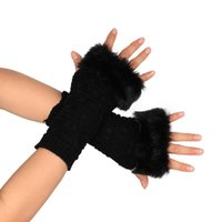 Wholesale Wool Fur Fingerless Long Gloves - Wholesale- Winter Women's Wool Mitts Wool Fingerless Gloves Long 2017 Thermal Gloves finger Arm Warmers multi use fine quality #249