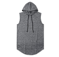 Wholesale Long Sleeve Vest For Men - 2017 Wholesale hot sales Two colors High Quality Men hooded t shirt Cotton sleeveless vest for man tank tops