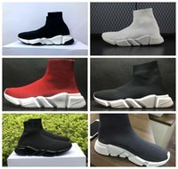 Wholesale White Trainers - Luxury Sock Shoe Speed Trainer Running Shoes High Quality Sneakers Speed Trainer Sock Race Runners black Shoes men and women Sports Shoes