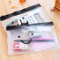 Wholesale Wholesale Moustache Cases - Wholesale- 1PCS Travel Toiletry Bag Transparent Moustache Smile Office Cosmetic Make Up Pencil Bag Pouch Case