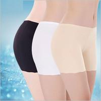 Wholesale Women Silk Boxer Shorts Underwear - Women Boyshorts Pants Ice Silk Seamless Short Women Five Minutes Black Silk Safety Pants Women Silk Ice Safety Underwear Boxer