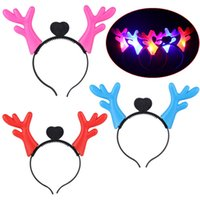 Wholesale Christmas Antlers Head Band - LED Antler Deer Headband For Children Christmas Gift New Year Decoration Deer head hoop Hairbands Hair Head Bands Accessories