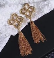 Wholesale Long Tassels Ear Cuff - Women earrings Europe and the United States big metallic long tassel dress collocation is free shipping