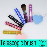 Wholesale Brush For Cosmetic Bag - Lipstick tube makeup brush Telescopic design for carry in bag, powder brush special Portable cosmetic BB cream brush 6 color