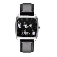 Wholesale beatles style - Cartoon Boy women's girl children students The beatles style Rectangle dial Black leather strap quartz wrist watch 11