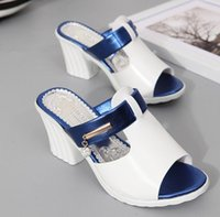 Wholesale Ladies Orange Wedge - wedge sandals 2017 summer elegant lady women fish mouth wedge chunky heel sandal slippers