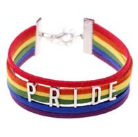 Wholesale Rainbow Spring Bracelet - Gay Pride Bracelet LGBT Rainbow Pride Bracelets Perfect Gay Gifts Lesbian Love Bracelets