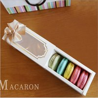 Wholesale Macaron Paper - Macaron Box Cake Box Biscuit Muffin Box15.5*6.5*5cm Home Made Macaron Paper Party Boxes For Bakery Cupcake