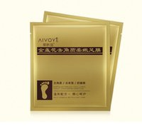 Wholesale Detox Free Shipping - 24K Gold Revitalizing Exfoliating Softening Feet mask Removes Cuticles callus Dead cells foot care DHL Free shipping