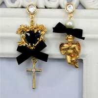 Wholesale Handmade Earrings Designs - New Design Pearl Cross Earrings Handmade Custom Exaggerated Baroque Palace Retro Exaggerated Bow Hollow Angel Crystal Lovely Cross Earrings