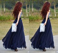 Wholesale Xs Maxi Dress Black - 2017 Chiffon Navy Blue Long Skirts For Women Floor Length Beach Party Dresses Chiffon Skirts Maxi Skirt High Waist Skirts