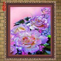 Wholesale Canvas Beautiful Flower Paint - YGS-333 DIY 5D Diamond Embroider The Beautiful Flowers Round Diamond Painting Cross Stitch Kits Diamond Mosaic Home Decoration