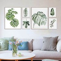 Design Original Watercolour Green Leaf Natural Tropical Plant Cottage Arte Canvas Prints wall Picture Posters For Home Sofa Decor