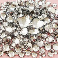 Wholesale Hotfix Clear Rhinestones 3mm - Wholesale- 1500pcs Lot Mix Sizes Clear Round Acrylic Resin Non Hotfix Flatback Rhinestone 2mm 3mm to 6mm for 3D Nail Art Crystal Decoration