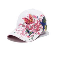 nuevas gorras de moda de china al por mayor-Al por mayor-Nueva moda China Style gorra de béisbol moda ocio flores sombreros Vintage gorra de béisbol ajustable para mujeres 2 colores