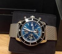 relógio mens dos homens de aço inoxidável 46mm venda por atacado-Brand New Superocean Herança Cronógrafo Quartz A13320 46mm Preto Azul Dial Mens Watch pulseira de aço Inoxidável dos homens relógios de pulso