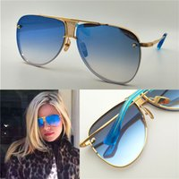 Wholesale Sunglasses Matte - New women brand sunglasses 20 anniversary men sunglasses limited edition matte gold frame pilot blue lens with blue original case