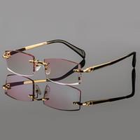 óculos sem titânio sem aro venda por atacado-Atacado- 2015 Phantom aparar titânio eyewear masculino diamante modelo de acabamento de ouro sem aro acabado prescrição glassses para homens
