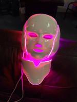 luzes de beleza led vermelho azul venda por atacado-7 cores photon PDT levou cuidados com a pele máscara facial azul verde luz vermelha terapia beleza dispositivos rosto máscara pescoço