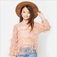 Wholesale Childrens Sweaters Knitted - Spring Teenager Knit Tassel Sweaters Junior Fashion Hallow Out Pullover 2017 Babies Casual Jumper tops childrens clothing