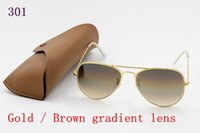 Wholesale protection drivers - New to high quality men's fashion retro sunglasses driver brand sunglasses golden frame brown taper glass lens UV400 protection brown box
