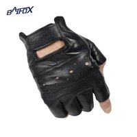 Wholesale Woman Biker Leather Gloves - Wholesale- Baifox outdoor sports Motorcycle Gloves Pro biker half finger Racing motocross motorbike gloves for Free size 9-10 cm men women