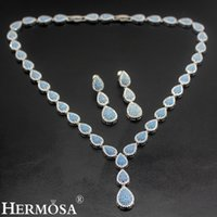 "Wholesale Teardrop China - Jewelry Sets Necklace Earrings 925 Sterling Silver Blue Agate White Topaz Teardrop Multi Stone Charming Beautiful Gifts 16""INCH"