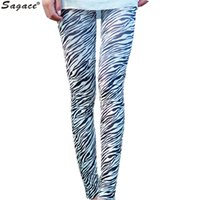 Wholesale Thin Striped Leggings - Wholesale- Trendy High Elastic Thin Exercise Women Autumn Pants Fashion Zebra Striped Printed Stretch Nine Leggings Skinny Trousers Aug11