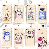 Cosméticos Lipstick Perfume Bottle Soft TPU Beauty Case para iphone 7 5 5s 6 6 plus para iPhone5 Sex Laday Phone Cover