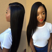 Wholesale natural u part resale online - Full Lace Wigs With Baby Hair Natural Human Hair Straight Lace Front Wigs U Part Wigs G EASY Hair