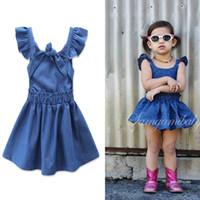Wholesale Lace Denim Toddler Dress - Everweekend Cute Baby Girls Denim Ruffles Dress Fly Sleeve Backless Ins Hot Sell Sweet Toddler Kids Children Western Dresses