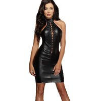 Sexy Dresses black baby doll dresses - Baby Doll Sexy Lingerie Sexy Costumes Sexi Lingerie Underwear Woman PU Leather Night Dress Latex Pole Dance Clothes