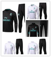 Wholesale T Shirt Real Madrid - 1718 Real Madrid football training service Cristiano Ronaldo and Lucas V zquez black and white T-shirt turtle neck long sleeve soccer traini