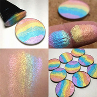 Wholesale Sleek Powder - Rainbow Highlighter Shine Eyeshadow Mineral Soft Sleek Powder Bronzer Blush Contour Palette Colorful Eye Shadow 2 IN 1 Cosmetic 2801065