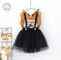 Wholesale Boy Cashmere Shirt - 2 Pcs Set Children Girls Two Piece Sets Summer T-shirt + Skirt Kids Girl Fashion Outfits Child Girl Good Quality Clothes 5 Sets Lot B