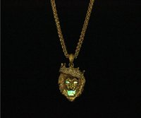 Big Lion Head Crown Pendant Alloy Necklace - Animal King Gold / Silver Color Hiphop Chain For Hombres / Mujeres Hip Hop Jewelry Gift