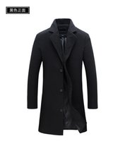 Wholesale Down Peacoat - Wholesale- Custom made New Fashion Brand Men's Clothing Jacket Wool Coat Men Single Breasted Turn Down Collar Slim Fit Peacoat Long Winter