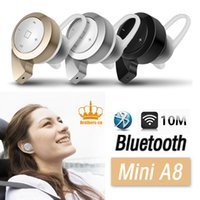 Wholesale A8 Tablet - with retail Box MINI A8 stereo bluetooth headset earphone headphone mini V4.0 wireless for iPhone Samsung tablet High quality