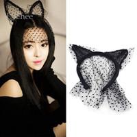 Wholesale Lace Cat Mask Ears - Wholesale- New Arrival Black Sexy Bunny Cat Ear Lace Bob Veil Mask Women Girl Party Masks