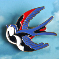 Wholesale Girls Blue Corsage - Wholesale- Cute Blue Bird Enamel Swallow Brooches Hijab Pins Up Metal Corsage Designer Wedding Shoulder Scarf Dresses Clips For Women Girls