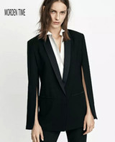 Wholesale Women Blazer Cuff - New Black Fashion Cape Blazer Jacket Cuff Split Sleeve Women Blazers Jacket Single Button M209