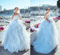 Wholesale corset pearl wedding dresses - Delicate Ball Gown Wedding Dresses Sheer Neck Half Sleeves Floral Appliques Light Sky Blue Corset Lace Up Beach Bridal Dresses
